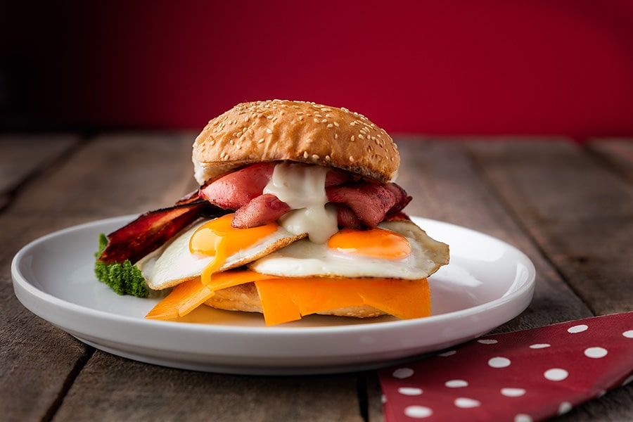 burger menu bacon and egg supreme roll