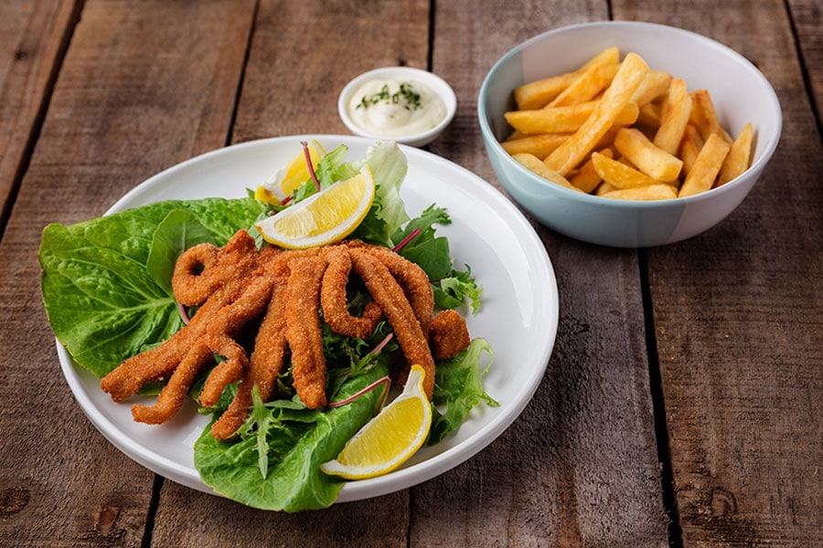 seafood menu calamari curl and chips