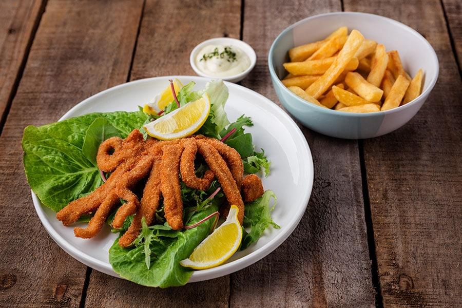 seafood menu calamari curl and chips