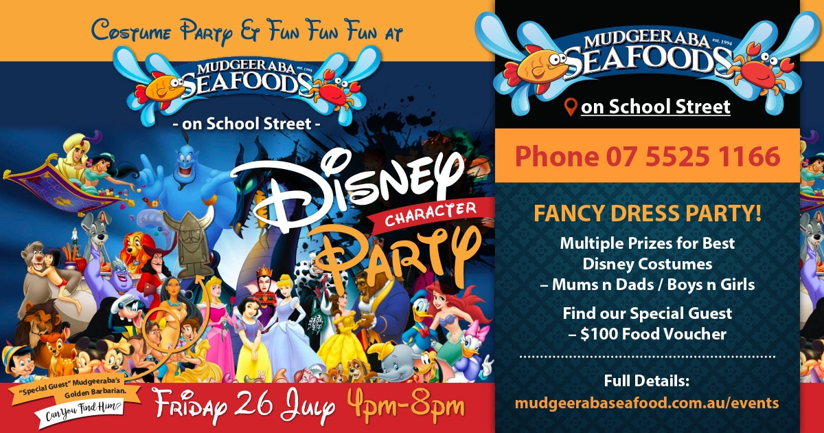 disney character party mudgeeraba seafoods