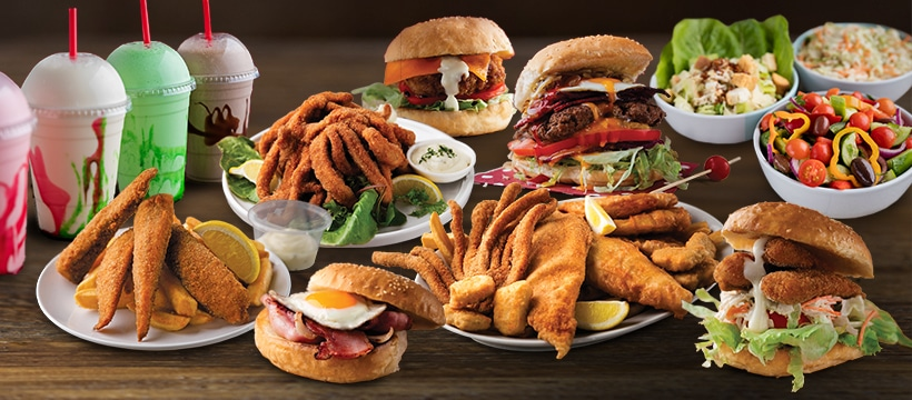 burgers cooked seafoods variety of yummy crispy chips delicious salads and awesome old style milkshakes